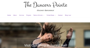 screenshot of the dancers pointe online dancewear shop click to go thedancerspointe.co.uk